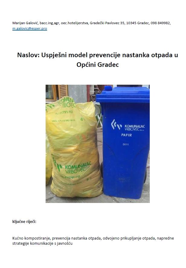 Uspješni model prevencije nastanka otpada u Općini Gradec